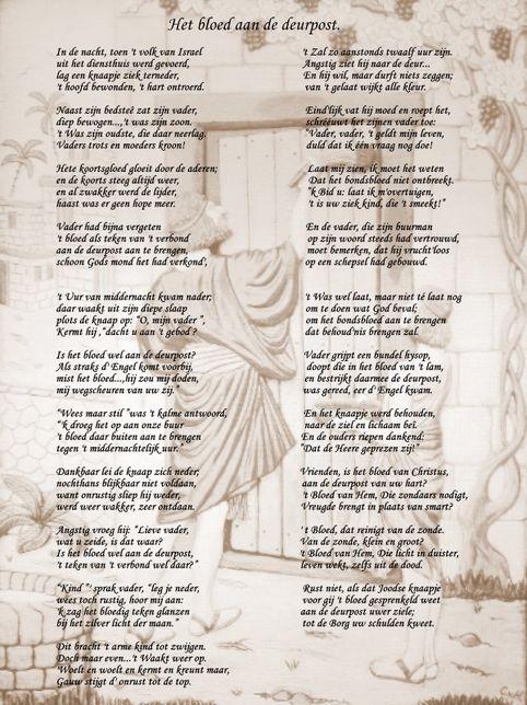 Grote Kaart Met Gedicht Het Bloed Aan De Deurpost